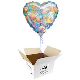 Globo corazón holográfico fuegos artificiales en caja sorpresa