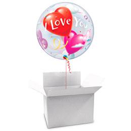 Globo Burbuja I Love You en caja sorpresa