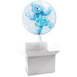 Globo Burbujay Osito azul celeste doble en caja sorpresa