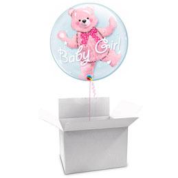 Globo Burbujay Osito rosa doble en caja sorpresa