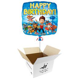 Globo Patrulla Canina Happy Birthday en caja sorpresa