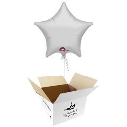 Globo Estrella Plateada en caja sorpresa