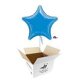Globo Estrella Azul en caja sorpresa