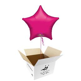 Globo Estrella Fucsia en caja sorpresa