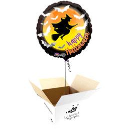 Globo Happy Halloween Bruja en caja sorpresa