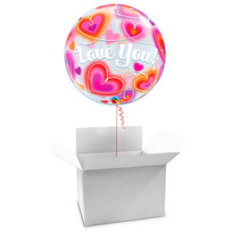 Globo Burbuja Love You en caja sorpresa