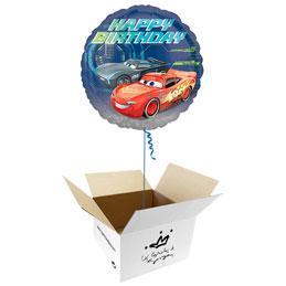 Globo Cars Happy Birthday en caja sorpresa