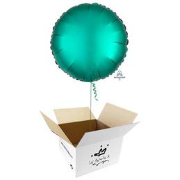 Globo redondo Verde Jade Satín en caja sorpresa