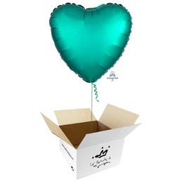 Globo Corazón Verde Jade Satín en caja sorpresa