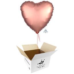 Globo Corazón Rosa Oro Satín en caja sorpresa
