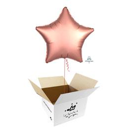 Globo Estrella Rosa Oro Satín en caja sorpresa