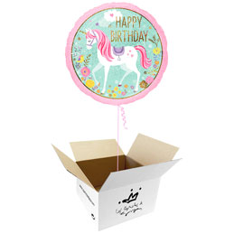 Globo Unicornio Happy Birthday en caja sorpresa