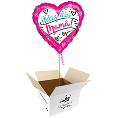 Globo Feliz día Mamá en caja sorpresa