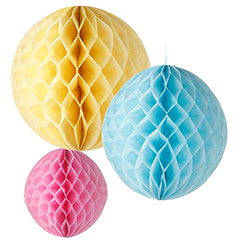 Pompones de papel colores pastel, Pack 3 u.