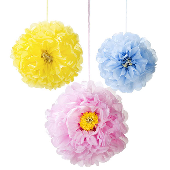 Pompones flores tonos pastel, 3 u diferentes medidas