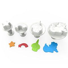 Cortadores de galletas modelo Unicornio con expulsor, Set 4 u.