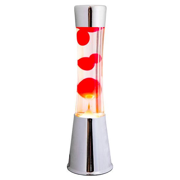 Lámpara lava cromada, líquido transparente lava roja