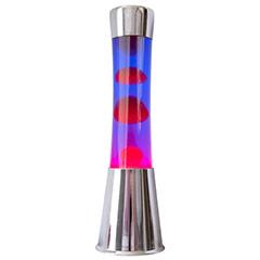 Lámpara lava cromada, líquido azul lava roja