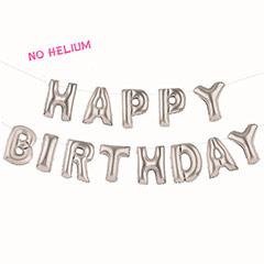 Guirnalda de globos plateados, Happy Birthday