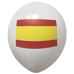 Globos de Látex Blancos con Bandera de España. Pack 12 u.
