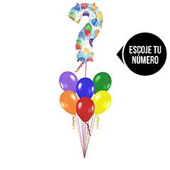 Ramo de Globos con Número Multicolor