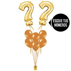 Ramo de Globos con Números color Dorado