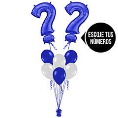 Ramo de Globos con Números color Azules