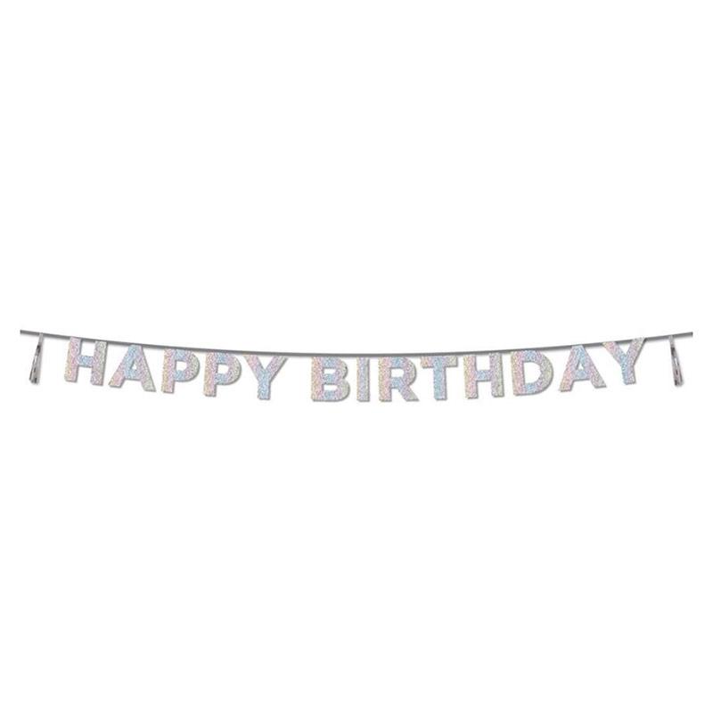 Guirnalda Happy Birthday iridiscente