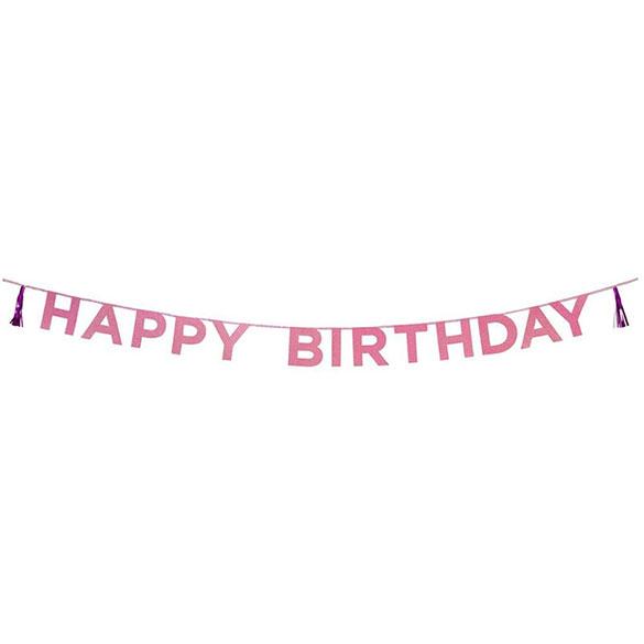 Guirnalda Happy Birthday rosa con purpurina