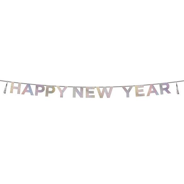 Guirnalda Happy New Year iridiscente