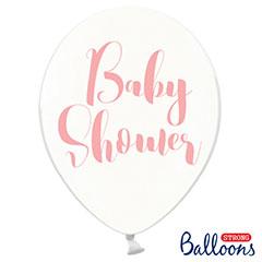 Globos de látex Transparentes Baby Shower Niña. Pack 6 u.