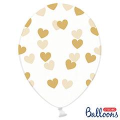 Globos de látex Transparentes con corazones dorados. Pack 6 u.