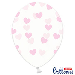Globos de látex Transparentes con corazones rosa. Pack 6 u.