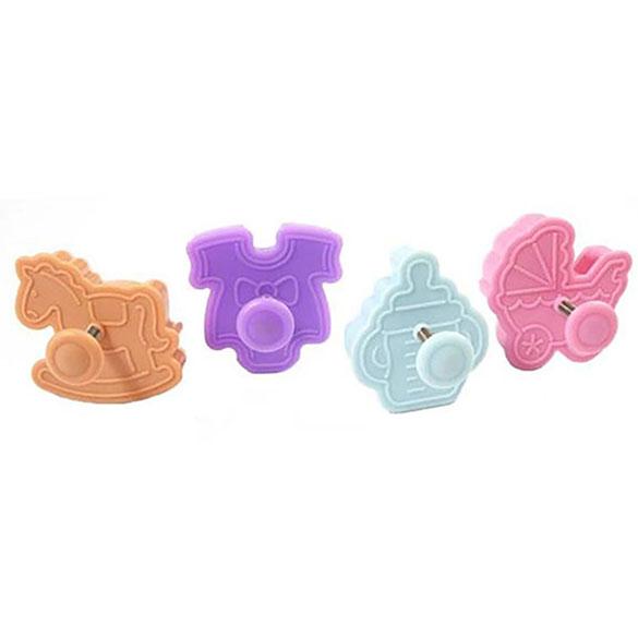 Cortadores de galletas modelo Bebé con expulsor, Set 4 u.