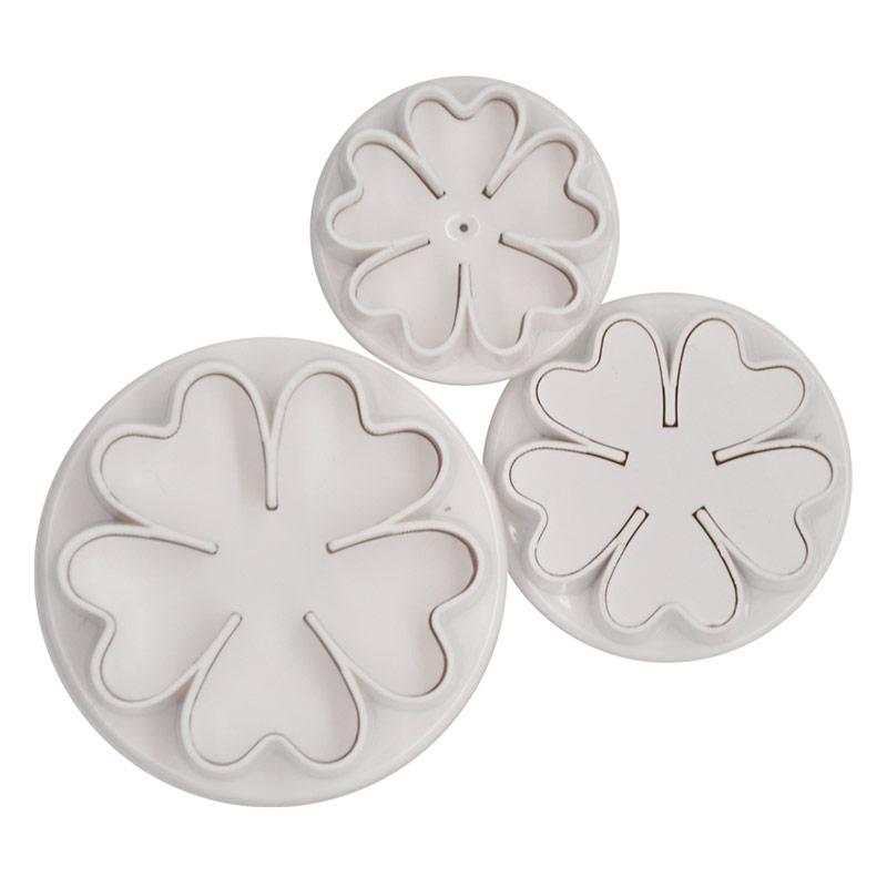 Cortadores de galletas modelo flor con expulsor, Set 3 u.
