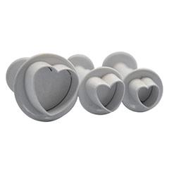 Cortadores de galletas modelo corazones con expulsor, Set 3 u.