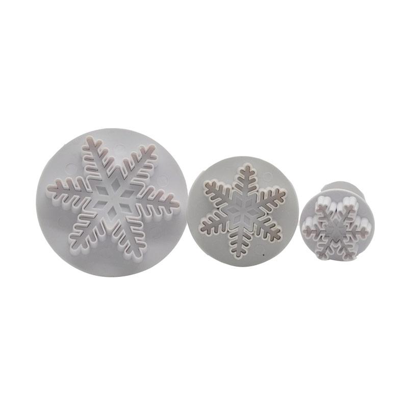 Cortadores de galletas modelo copos de nieve con expulsor, Set 3 u.
