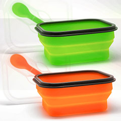 Lunch box 1 compartimento con cuchara y tenedor verde