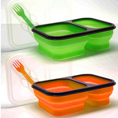 Lunch box 2 compartimentos con cuchara y tenedor verde