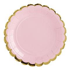 Platos rosa suave borde dorado 18 cm, Pack 6 u.