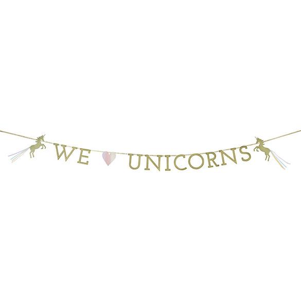 Guirnalda We Love Unicorns dorada