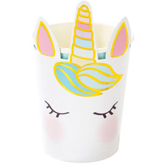 Vasos cara Unicornio, 250 ml,Pack 8 u.