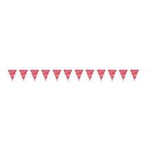 Guirnalda banderines rojos con lunares blancos de plástico - Ítem1