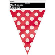 Guirnalda banderines rojos con lunares blancos de plástico - Ítem2