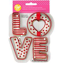 Cortadores de galletas con forma letras LOVE, Set 4 u. - Ítem1