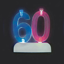 Soporte para vela cumpleaños nº 60 con luz - Ítem1
