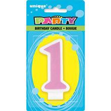 Vela cumpleaños número 1 rosa - Ítem1