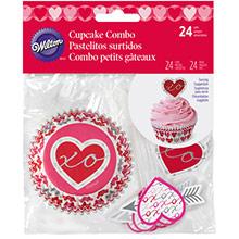 Cápsulas y decoración cupcakes corazones, Pack 48 u. - Ítem1