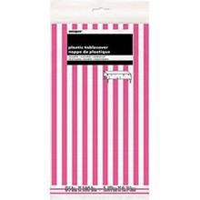 Mantel rayas blanco y rosa 274 x 137 cm plástico, Pack 1 u. - Ítem1