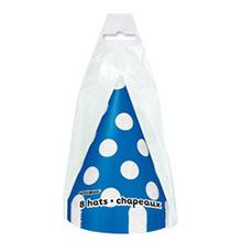 Gorros cartón cumpleaños azul lunares blancos, Pack 8 u. - Ítem1